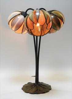 Slag Glass 3 Light Water Lily Bronze Table