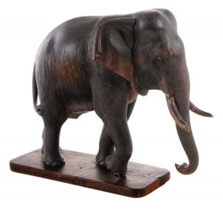 Carved Elephant on Base  20th century, carved