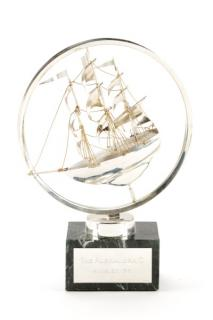 Cartier Sterling Masted Ship Sculpture on