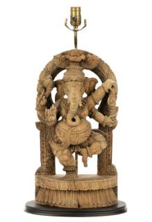 Indian Carved Wood Ganesha Table Lamp  Indian,19th/