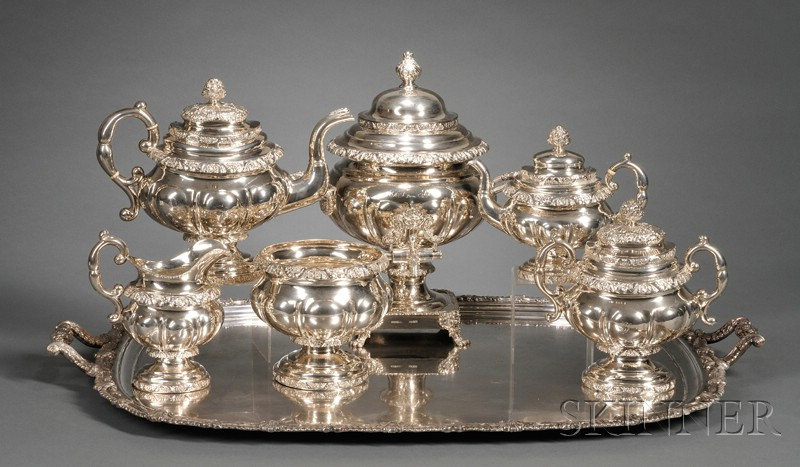 Six Piece Empire Coin Silver Tea Service