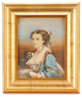Victorian Watercolor 'Young Woman with a