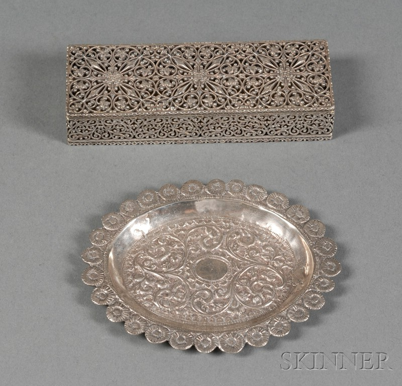 Shiebler Pierced Sterling Dresser Box, late