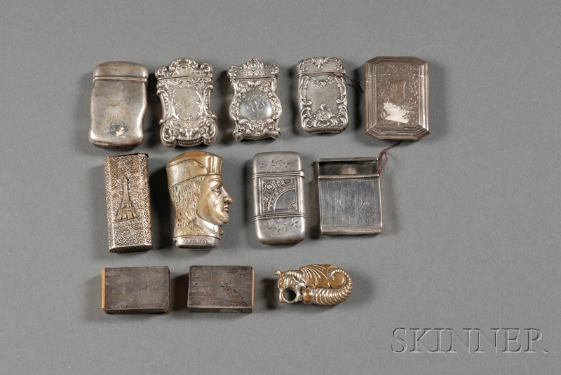 Twelve Sterling and Silverplate Matchsafes