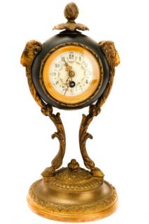 French Bronze Table Clock, Ram's Head Mounts