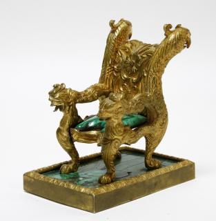 Diminutive Russian Ormolu Bronze Malachite