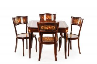 Marquetry Inlaid Multiple Gaming Table w/Chairs