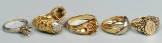 Group of 5 Gold Rings, 10K, 14K, 18K  Grouping