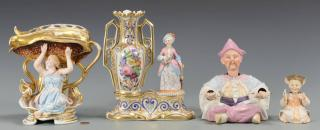 Figural porcelains and nodders, 4 items