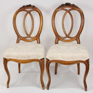 Pair of French Louis XV style walnut salon