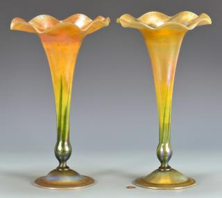 2 Tiffany Favrile Scalloped Trumpet Vases