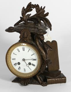 French patinated bronze mantle clock, haivng