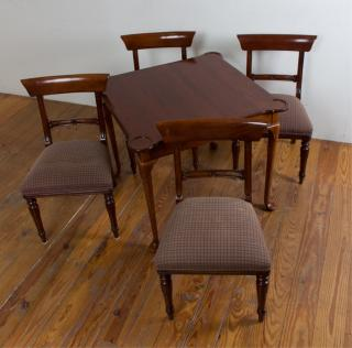 Queen Anne Style Game Table w/ Four (4) Chairs