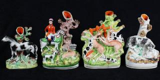 (lot of 4) Staffordshire figural spill vases,