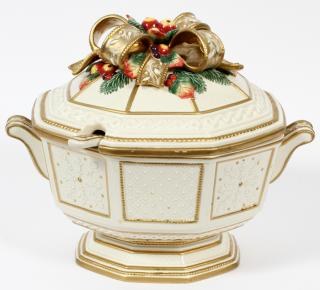 FITZ AND FLOYD PORCELAIN TUREEN AND LADLE