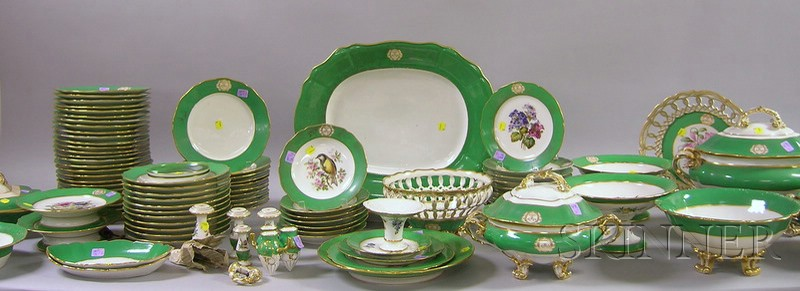 Approximately Ninety-piece Paris Gilt, Green