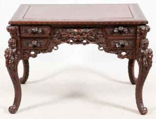 CHINESE CARVED ROSEWOOD DESK  CHINESE CARVED