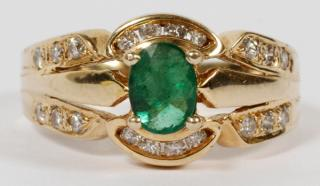 LADY'S 14 KT GOLD EMERALD AND DIAMOND RING
