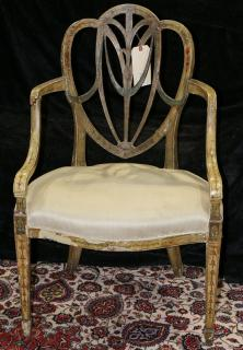 Regency polychrome decorated salon chair,