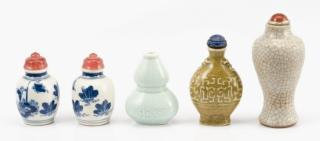 Collection of 5 Ceramic Snuff Bottles  A