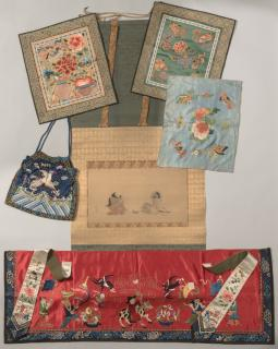 Japanese Scroll & 5 Chinese Silk Embroidered