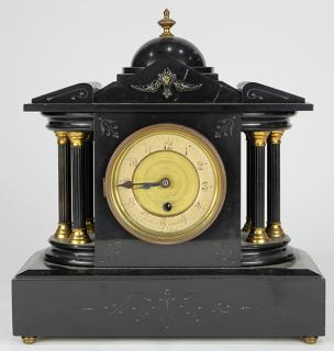 French slate mantle clock  French slate mantle