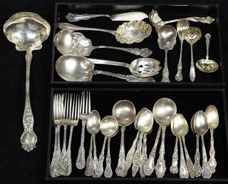 American sterling silver flatware group by