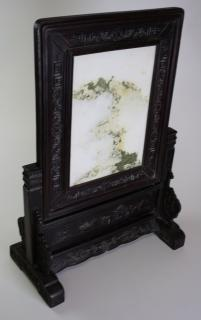 20th c Chinese carved wooden plaque frame