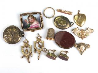 lot of 14 pcs. Victorian gold jewelry incl.