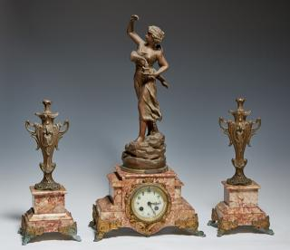 Three Piece French Art Nouveau Patinated