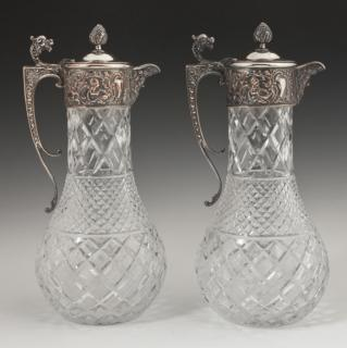 Pair of Silverplated Pressed Glass Claret