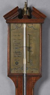 English Inlaid Mahogany Stick Barometer,