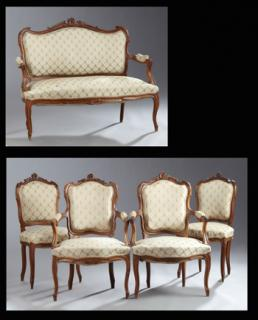 Five Piece French Louis XV Style Carved Walnut