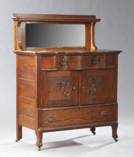 American Victorian Carved Tiger Oak Sideboard,