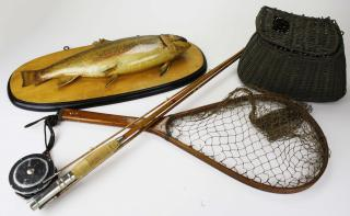 bamboo fly rod, net, creel & trout taxidermy