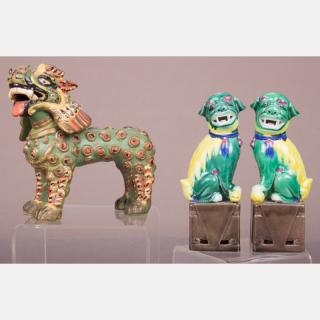 A Pair of Chinese Famille Verte Kylins,