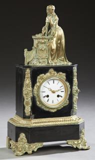 French Gilt Bronze and Black Marble Figural