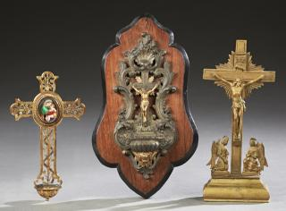 Group of Three French Religious Items, 19th