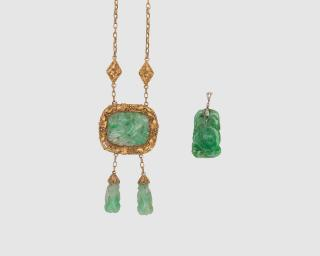 Carved Jadeite Necklace and Pendant  Carved
