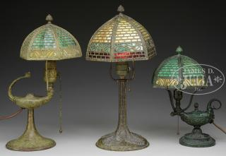 THREE ALADDIN-STYLE LAMPS. First third 20th