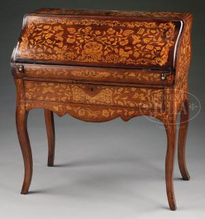 FINE MARQUETRY SLANT LID LADY'S DESK.  FINE