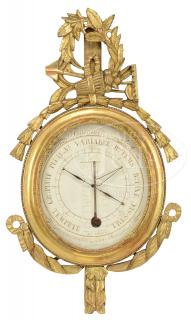 CARVED AND GILT BAROMETER/THERMOMETER BY