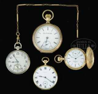 GROUP OF FOUR AMERICAN POCKET WATCHES.  GROUP