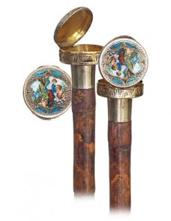 53. Dual Purpose Silver and Enamel Cane -Ca.