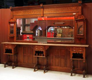 Victorian oak barbershop back bar, w-11'