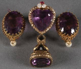 AMETHYST GEMSTONE & GOLD JEWELRY GROUP  A