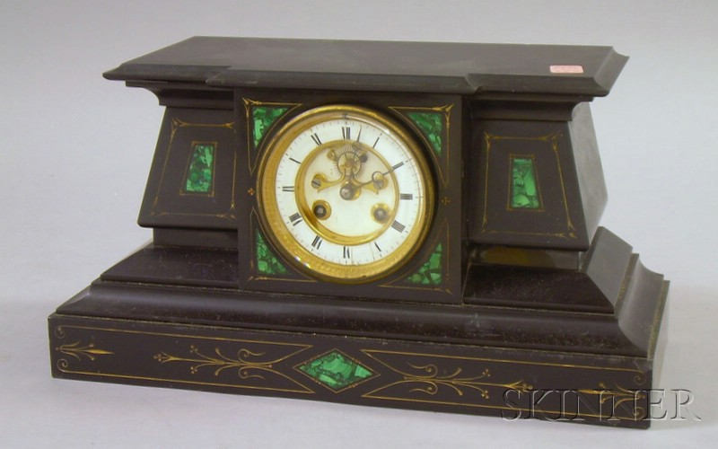 French Black Marble Mantel Clock, with gilt
