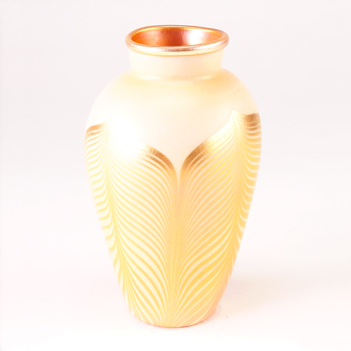 KEW BLAS Art glass vase with gold feather-pull