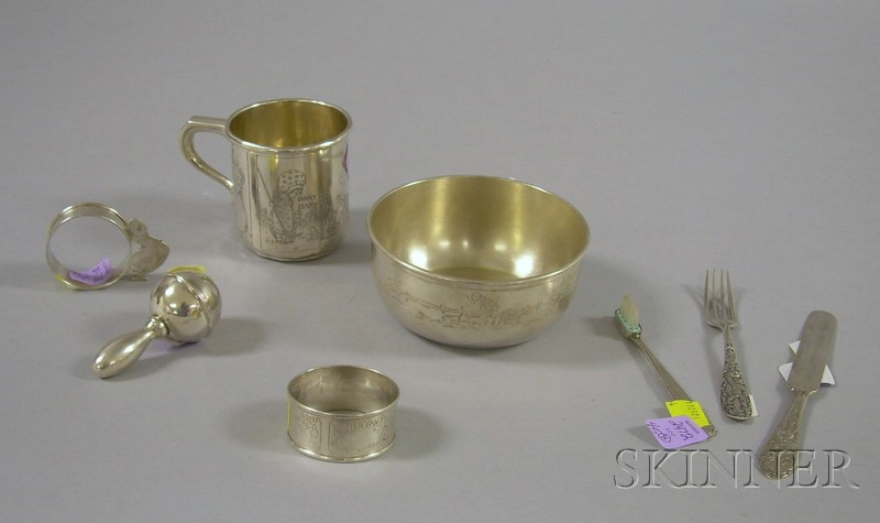 Eight Silver Nursery Items, including a Gorham