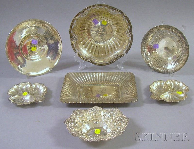 Seven Assorted Sterling Dishes, a pair of
